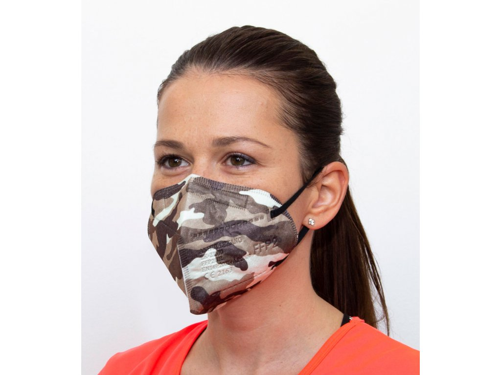 Respirátor FFP2 - maskáčový - šedý