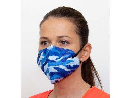 Respirátor FFP2 - maskáčový - modrý