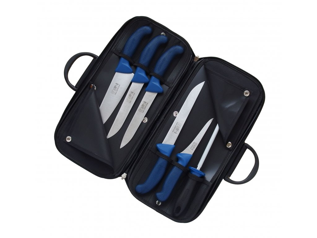 Kabela s řeznickými noži Profi Line (modrá)