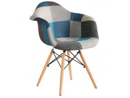 Jedálenská stolička Wave Patchwork modrá