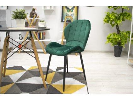 Zamatová stolička Barcelona zelená