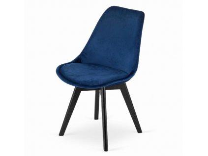 Zamatové stoličky London modré s čiernymi nohami 4 ks