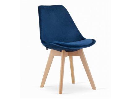 Zamatové stoličky London modré s prírodnými nohami 4 ks