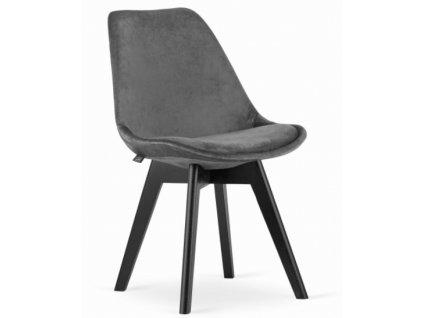 Zamatové stoličky London sivé s čiernymi nohami 4 ks