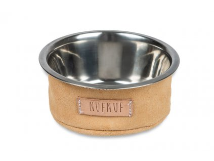 Metal bowl with suede cover