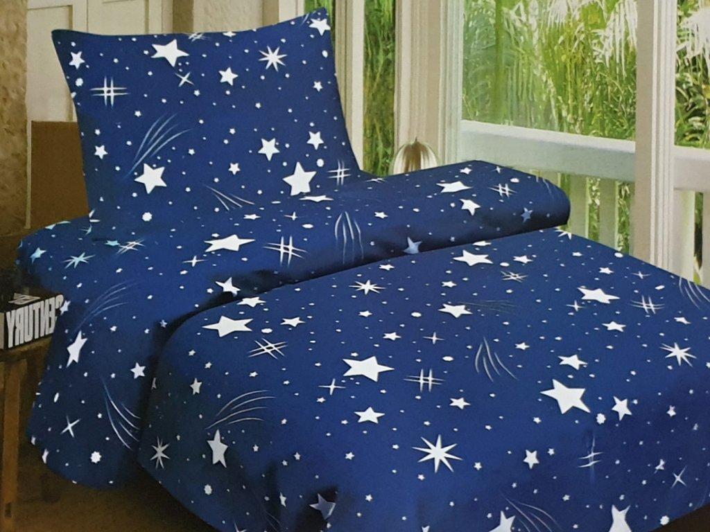 Bavlněné povlečení Anička modrá s hvězdama