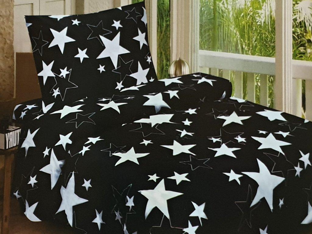Bavlněné povlečení čená s hvězdama