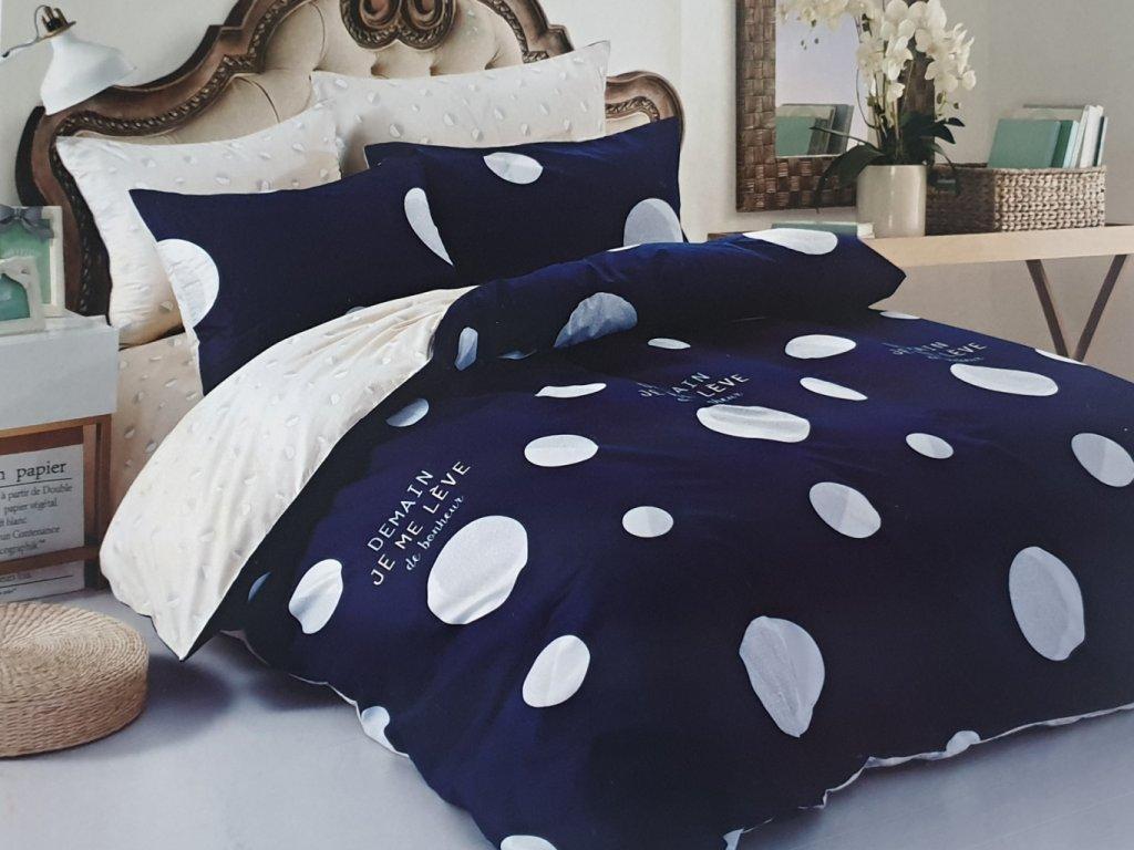 Francouzské bavlněné povlečení oboustranné, modrobílá s bílými puntíky