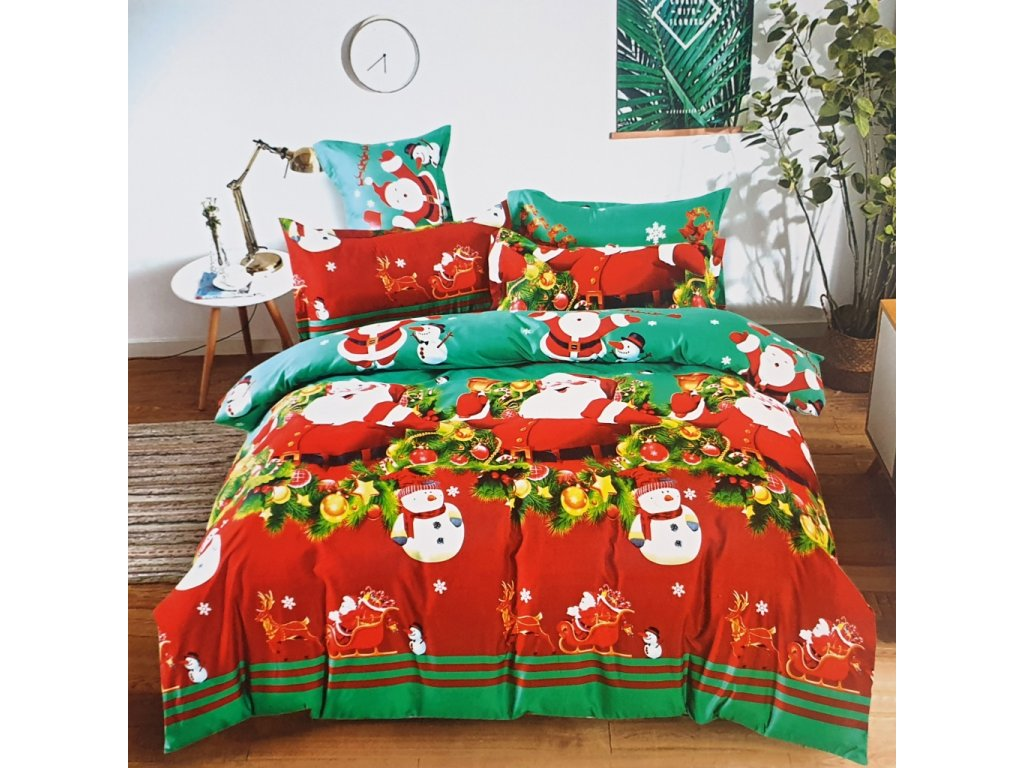 7 dílná Bavlněná sada vánočního povlečení 3D na 2 postele VÁNOCE VI. + PROSTĚRADLO ZDARMA