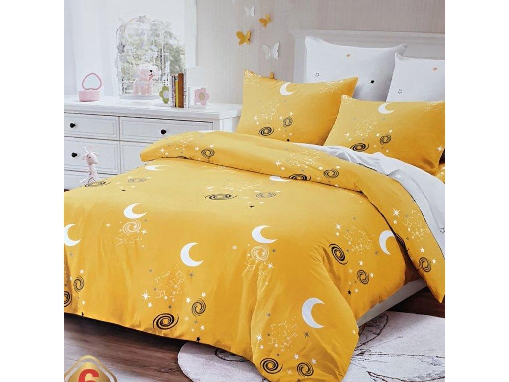 9716 francouzske 6 dilne bavlnene povleceni mesic zluta