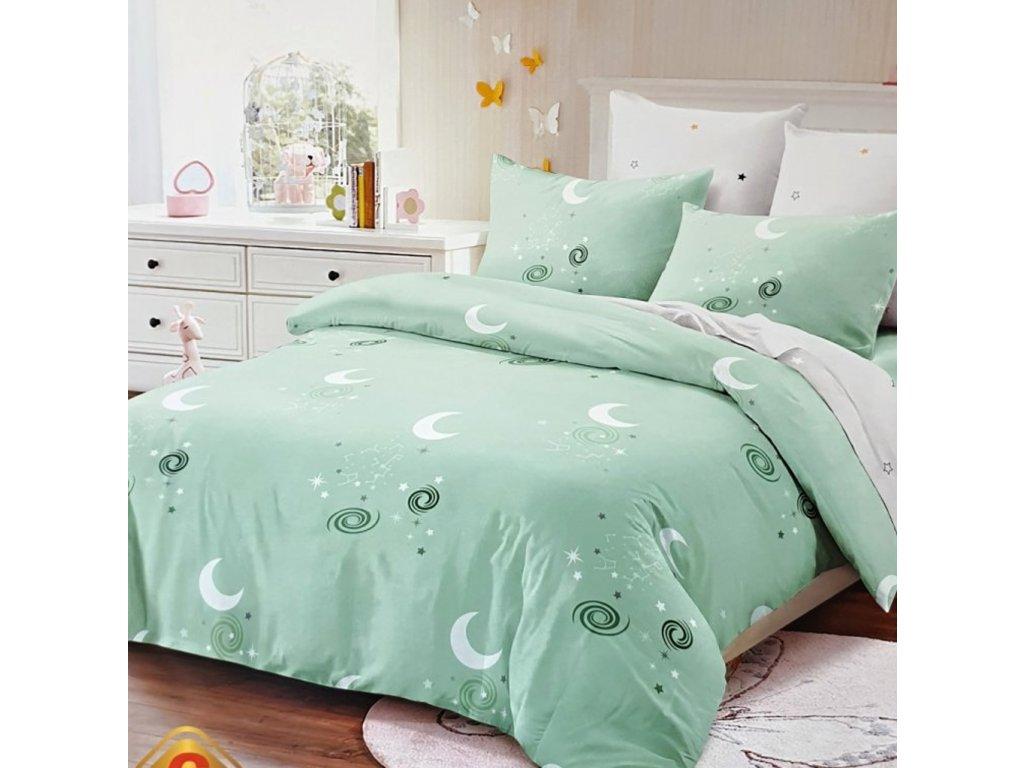 9710 francouzske 6 dilne bavlnene povleceni mesic zelena