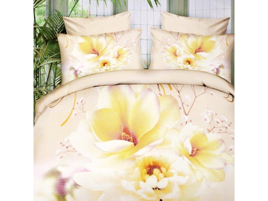 Flanelové povlečení na dvě lůžka Divoké květiny - Béžová/žlutá
