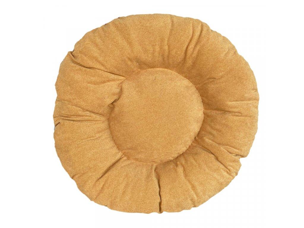 Kulatý matrace pro psa 10/70 cm - Žlutá