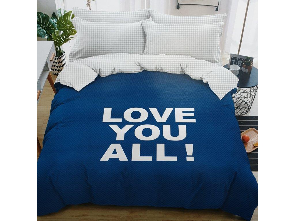 3 dílné bavlněné povlečení Love you all modrá
