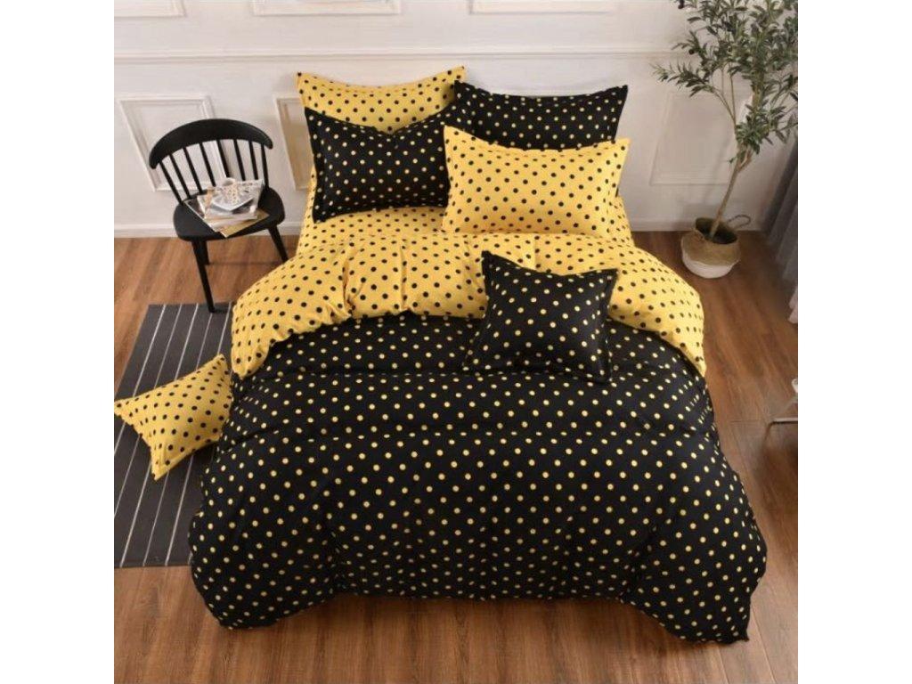 3 dílné bavlněné luxusní povlečení s puntíkem-Žluté  a černé