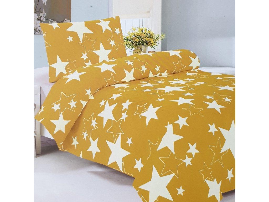 2 dílné bavlněné povlečení - Žluté hvězdy