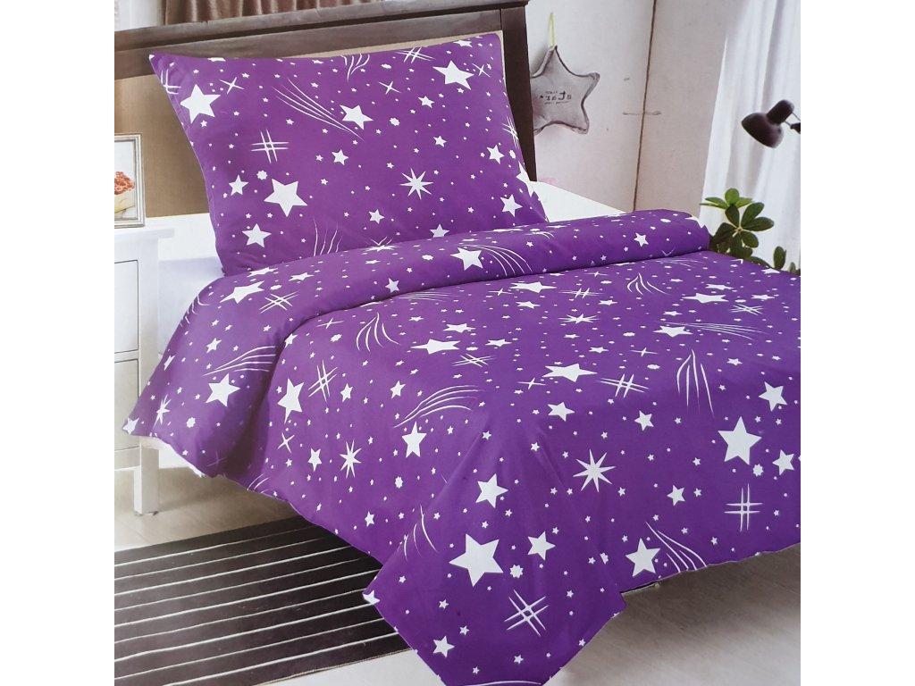 Bavlněné povlečení - Fialové hvězdy GALAXIE