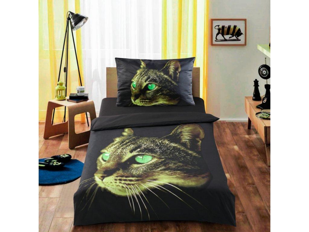 Ložní souprava 3D Zelená kočka