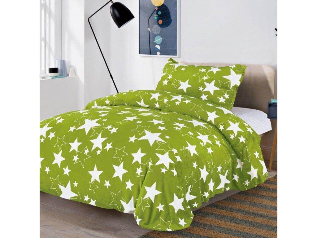 2 dílné mikroflanelové povlečení - Zelené s hvězdami
