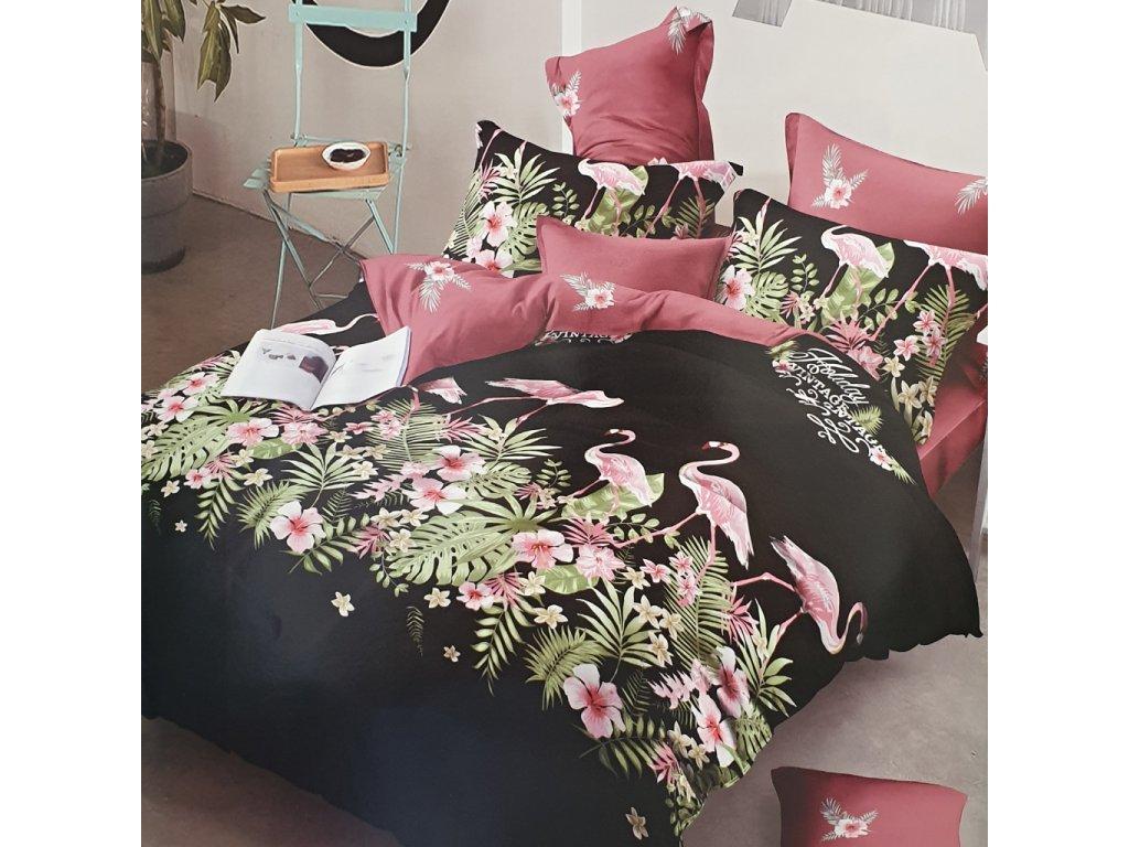 Povlečení bavlněné flamingo - Černá
