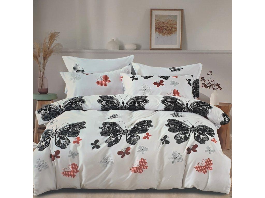 3 - Dílné luxusní bavlněné povlečení - motýlci