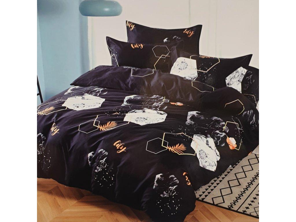 Bavlněné povlečení na 2 postele černé - Ája 4