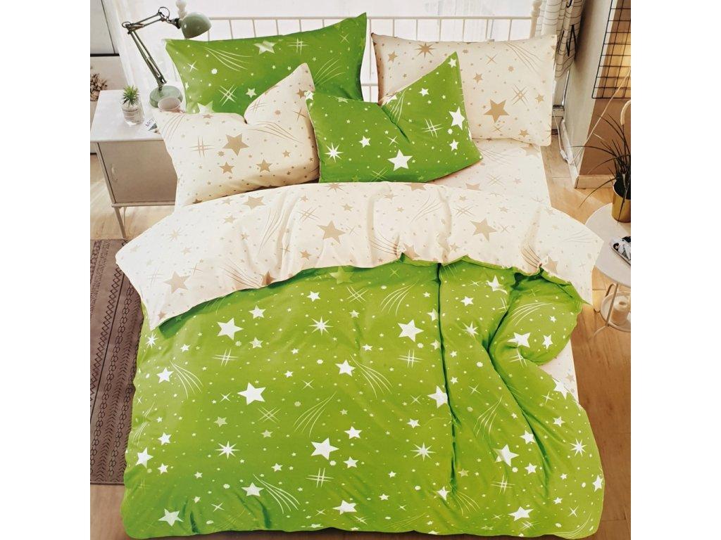Francouzské bavlněné povlečení oboustranné, zelenobílý se hvězdama