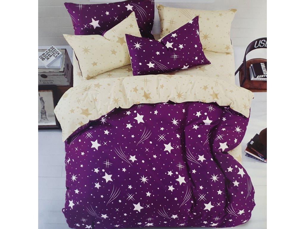 Francouzské bavlněné povlečení oboustranné, fialovožlutý se hvězdy