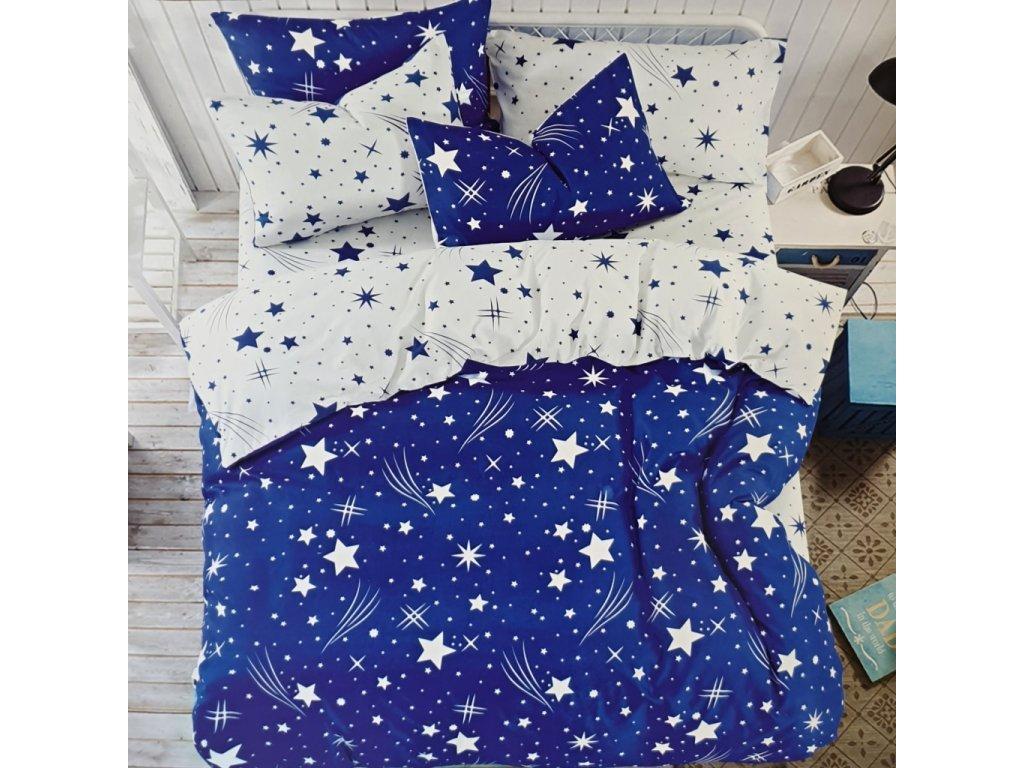 Francouzské bavlněné povlečení oboustranné, modrobílá se hvězdama