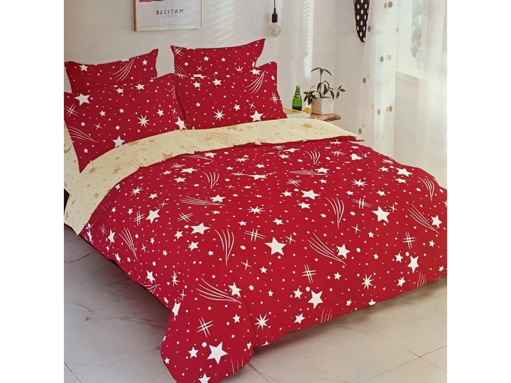 Bavlněné povlečení oboustranná, červenožlutá s hvězdama