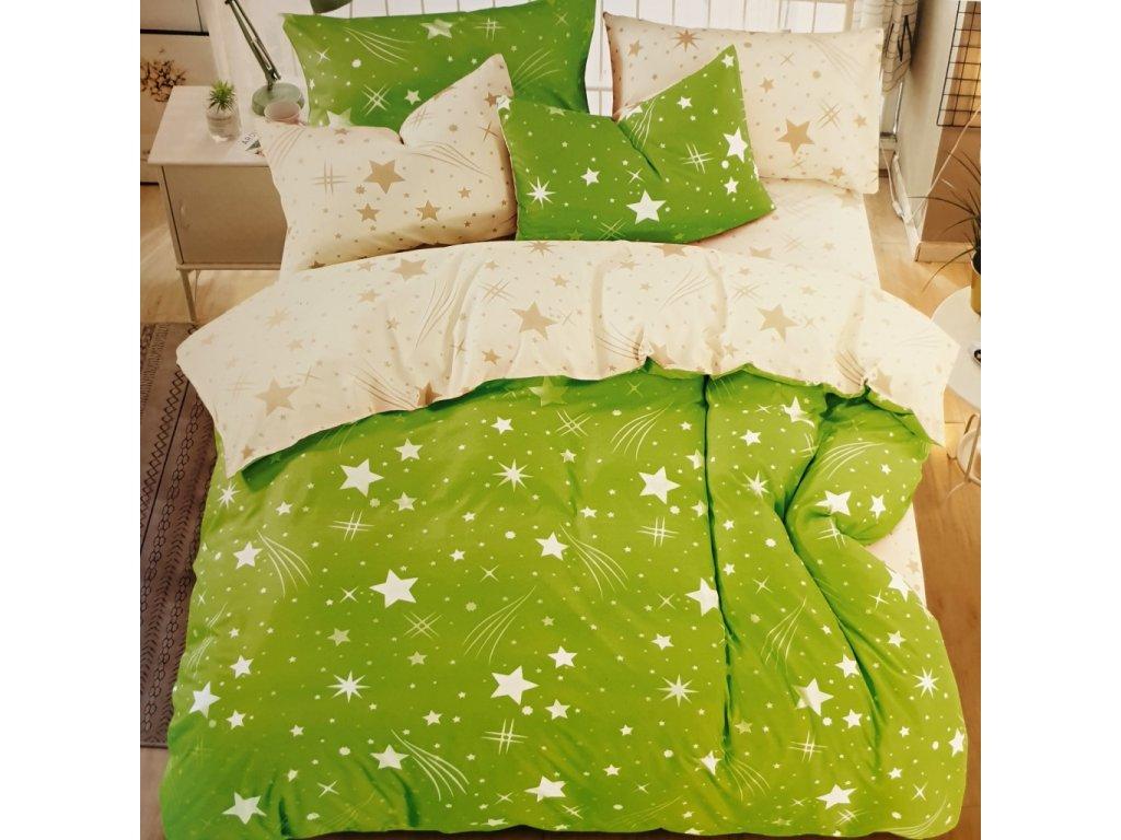 Povlečení bavlněné na dvě lůžka Star - Zelená