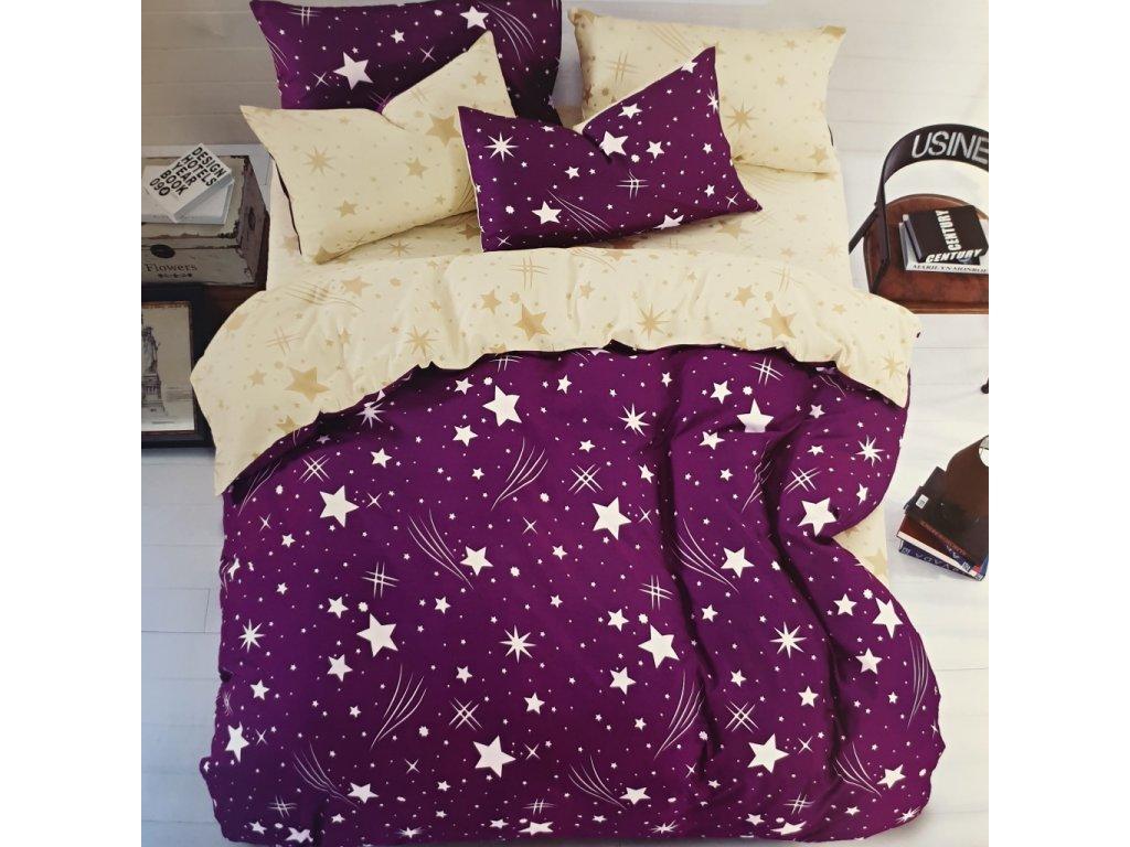 Povlečení bavlněné na dvě lůžka Star - Fialová