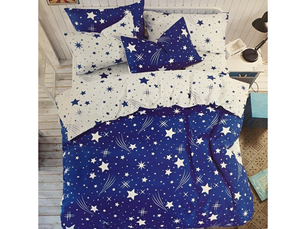 Povlečení bavlněné na dvě lůžka Star - Modrá