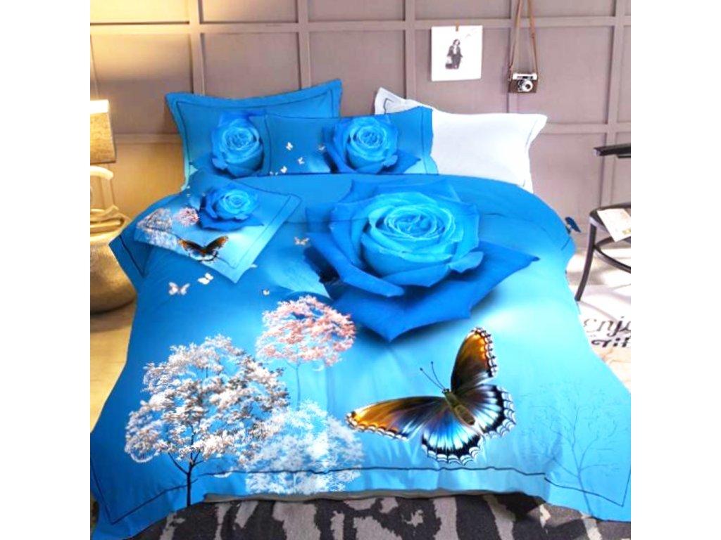 Bavlněné povlečení modrá s květinama a se stromy