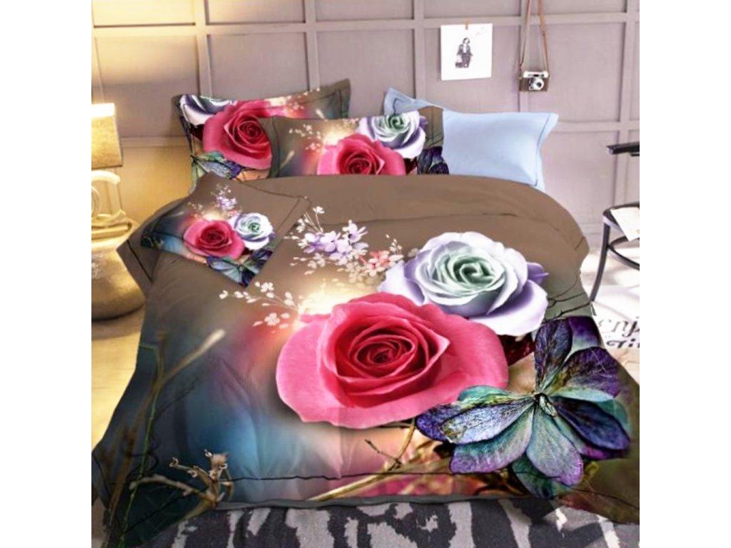 2 dílné 3D luxusní povlečení květiny 16