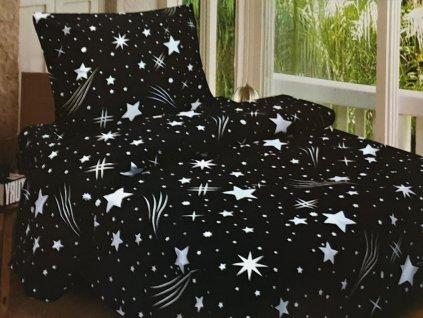 Bavlněné povlečení Anička černé s hvězdama