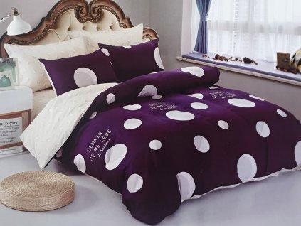 Francouzské bavlněné povlečení oboustranné, fialovobílý s puntíky