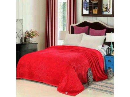 Mikroplyšová deka červená 150 x 200 cm - Life