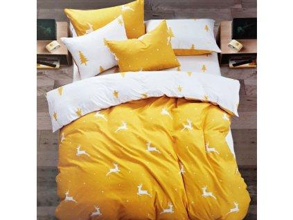 7 dílné povlečení na 2 postele 140x200/ 70x90 - VÁNOCE - JELENI - zluté + prostěradlo ZDARMA