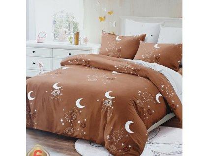 9707 francouzske 6 dilne bavlnene povleceni mesic hneda