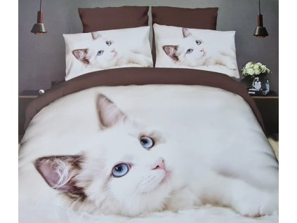 Bavlněné povlečení na dvě lůžka Bíla kočka