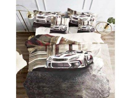 3D bavlněné povlečení oboustranné - Auto bíločerné