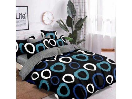 Bavlněné povlečení  - Modré a bílošedé kroužky