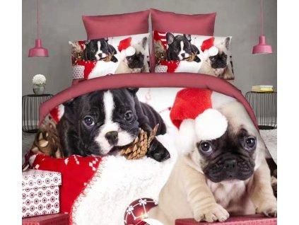 Bavlněné povlečení  - Vánoční psi