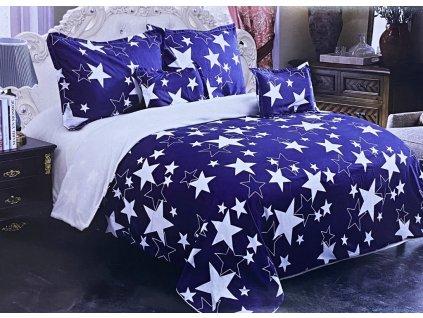 Beránková povlečení oboustrané - bílá a modrá s hvězdami