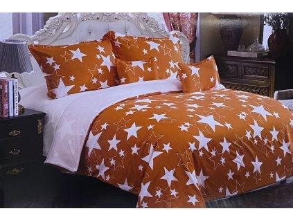 Beránková povlečení oboustrané - bílá a oranžová s hvězdami