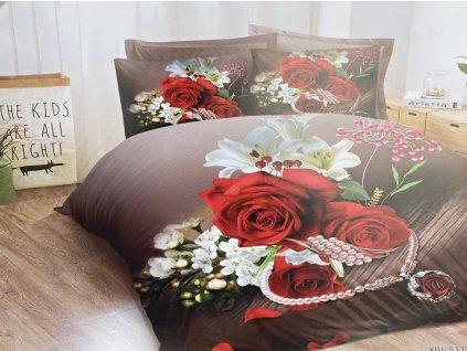 Bavlněné povlečení  - Červená růže s řetízkem