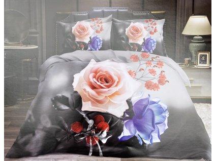 Bavlněné povlečení  - Červená růže a modrá růže