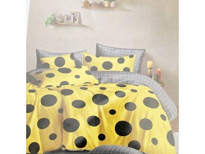 Bavlněné povlečení, žlutá s černými puntíky