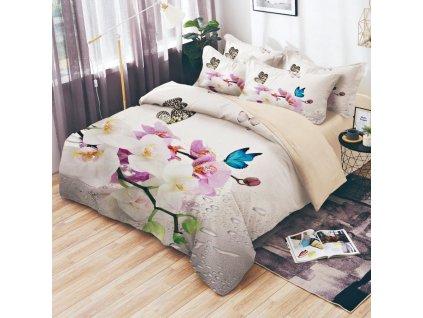 Bavlněné povlečení oboustranná na dvě lůžka  - Bílé a modré orchideje
